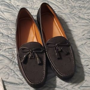 Coach Greenwich Sig Black Canvas Loafers Size 10